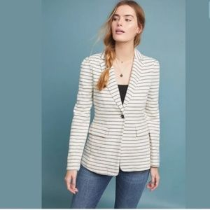 Anthropologie Francoise Gray Knit Striped Blazer S